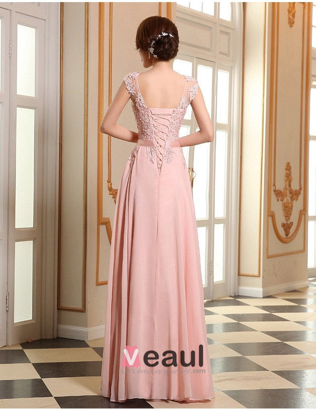 2015 rosa formales kleid a linie spitze abendkleid mit sch rpe. Black Bedroom Furniture Sets. Home Design Ideas