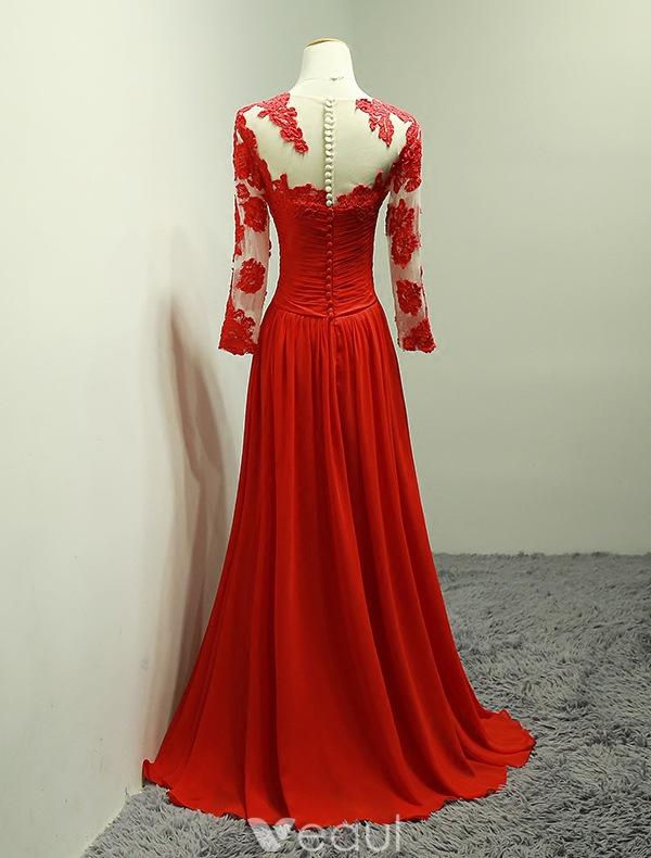 ausschnitt spitze kr useln roten chiffon langen kleid mit rmeln. Black Bedroom Furniture Sets. Home Design Ideas