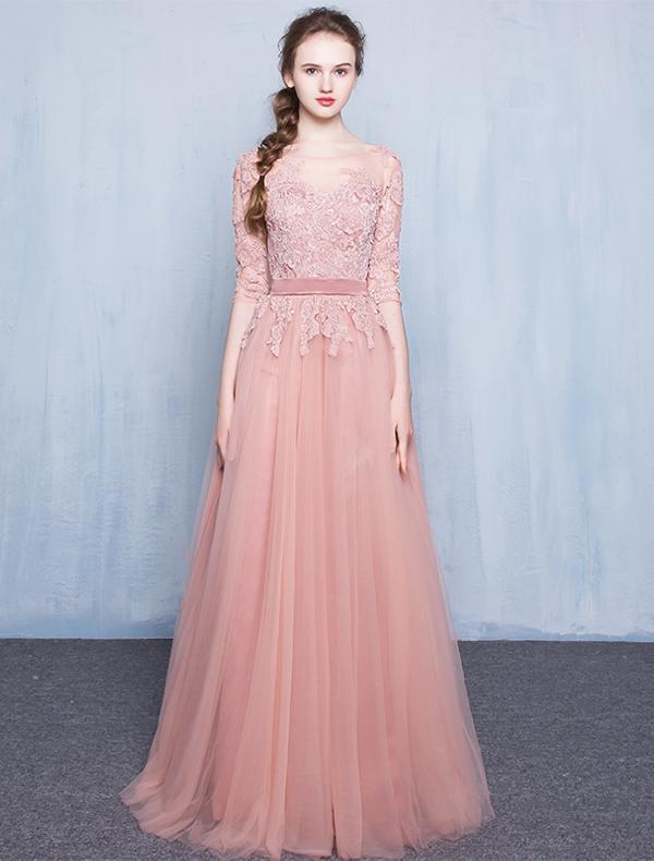 elegante rosa abendkleider 2016 a line rundhalsausschnitt spitze rosa t ll langes kleid. Black Bedroom Furniture Sets. Home Design Ideas