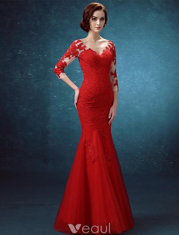 ... Lang 2016 Appliquespitze Royalblau Tüll Rückenfrei Festliche Kleid