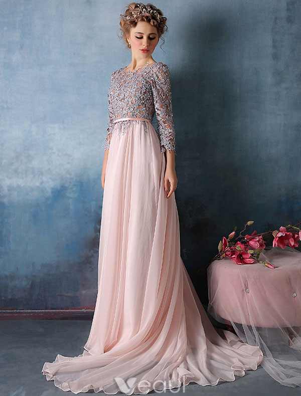 2016 3 4 rmel spitze mit pailletten rosa chiffon langes abendkleid. Black Bedroom Furniture Sets. Home Design Ideas