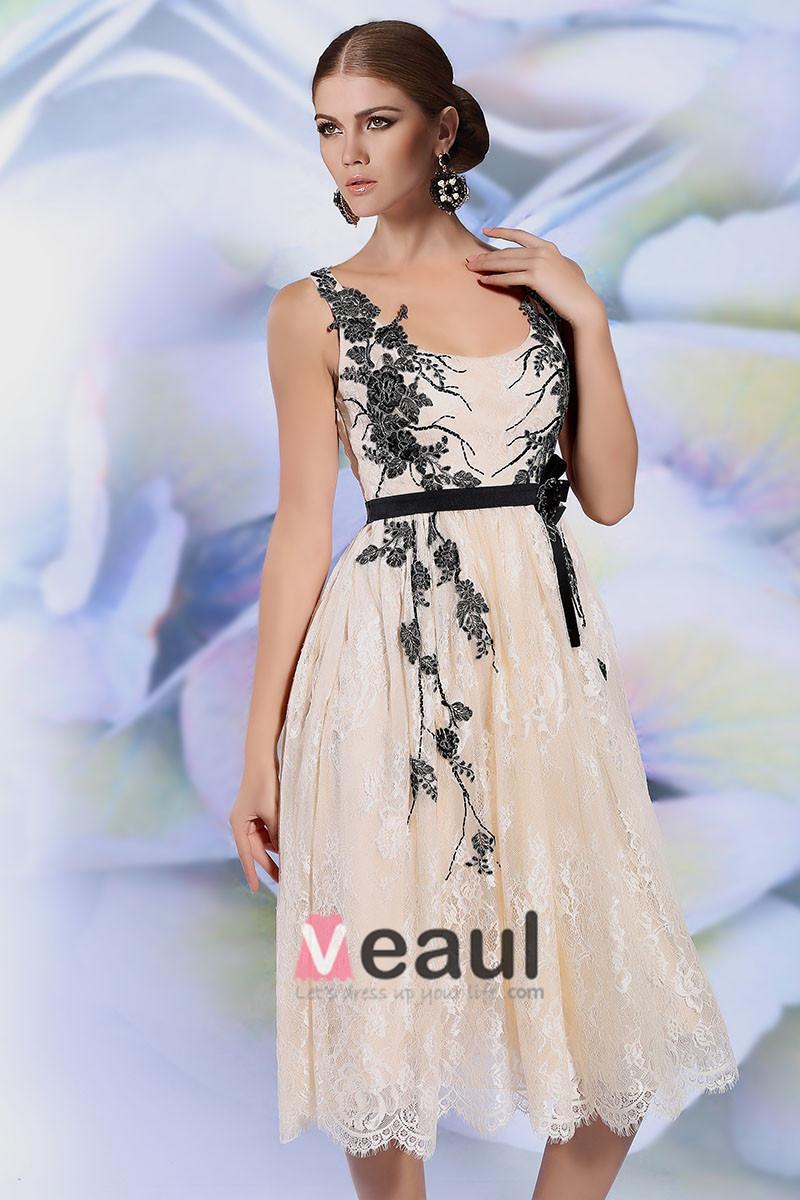 2015 Champagne Lace Appliques Short Cocktail Dress Party Dress