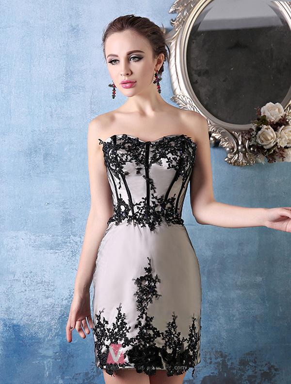 A-line Sweetheart Appliques Lace Detachable Train Asymmetrical Cocktail Dress