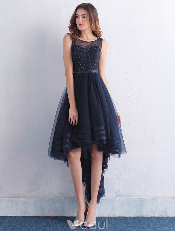 Beautiful Cocktail Dresses 2016 Scoop Neck Beading Asymmetrical Navy Blue Dress With Sash