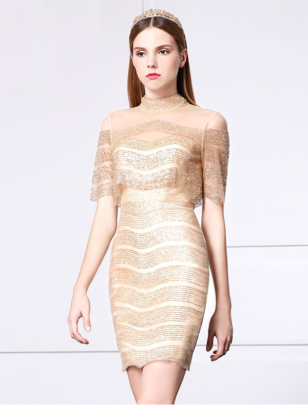 Beautiful Gold Glitter Cocktail Dress Short Party Dress 2017