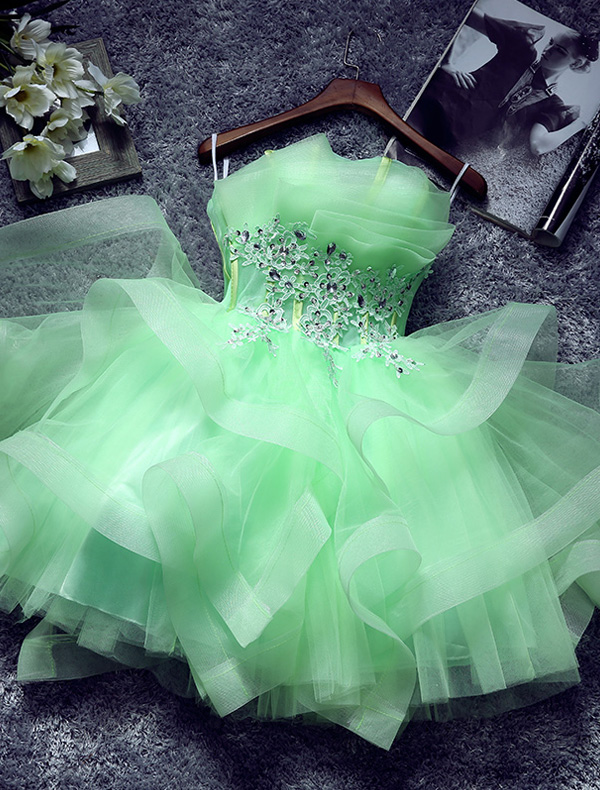 Beautiful Green Cocktail Dress Cascading Ruffles Strapless Short Party Dress