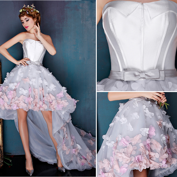Beautiful Ivory Cocktail Dress Empire Asymmetrical Party Dress With Colorful Flowers