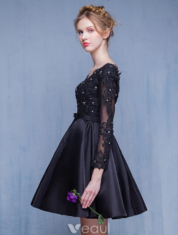 Beautiful Little Black Dresses 2016 A-line V-neck Applique Lace ...