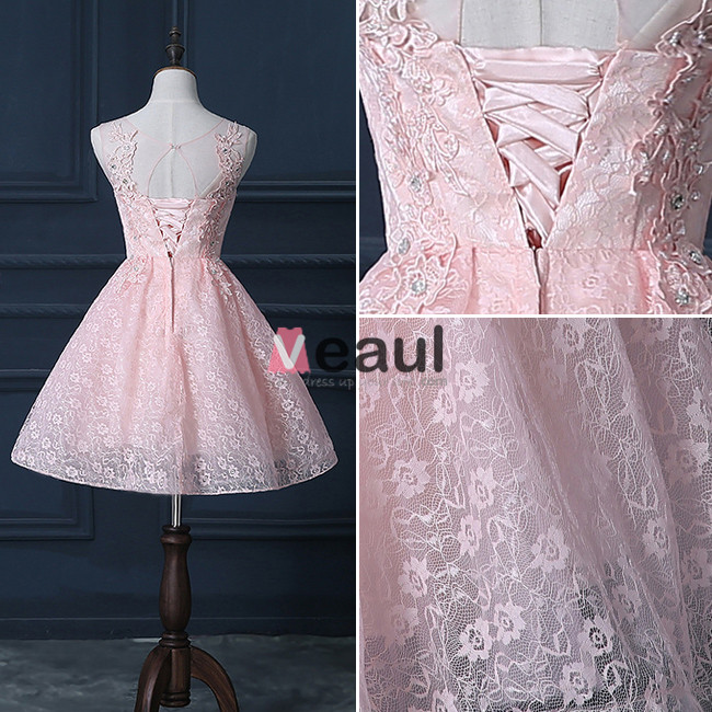 Beautiful Pink Cocktail Dress Short Lace Christmas Party Dresses 2016 New Year Eve Dresses
