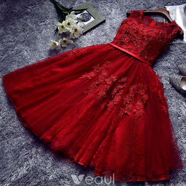 Beautiful Red Cocktail Dress 2016 Short Lace Party Dress With Sash