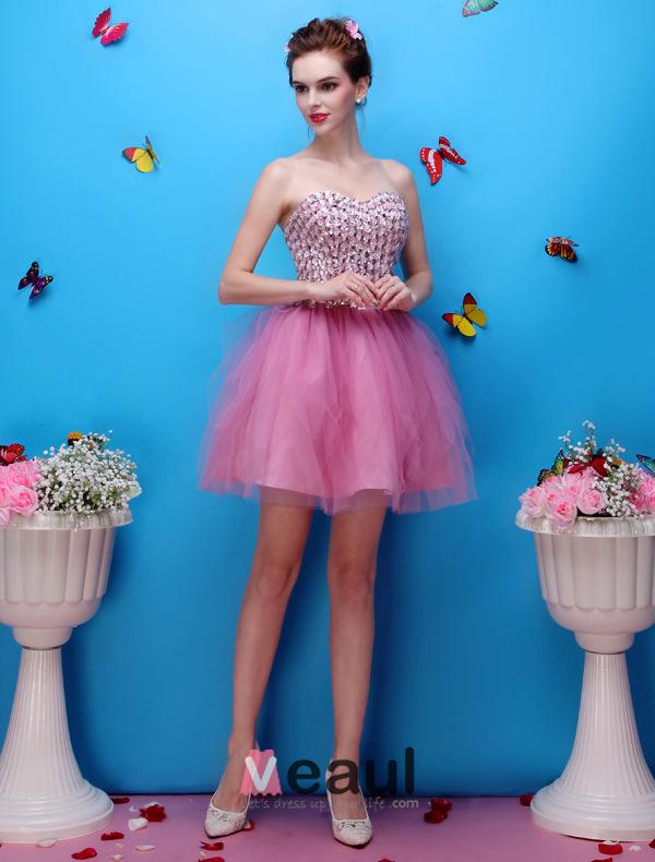 Beautiful Sweetheart Beading Flower Rhinestone Organza Mini Short Cocktail Dress