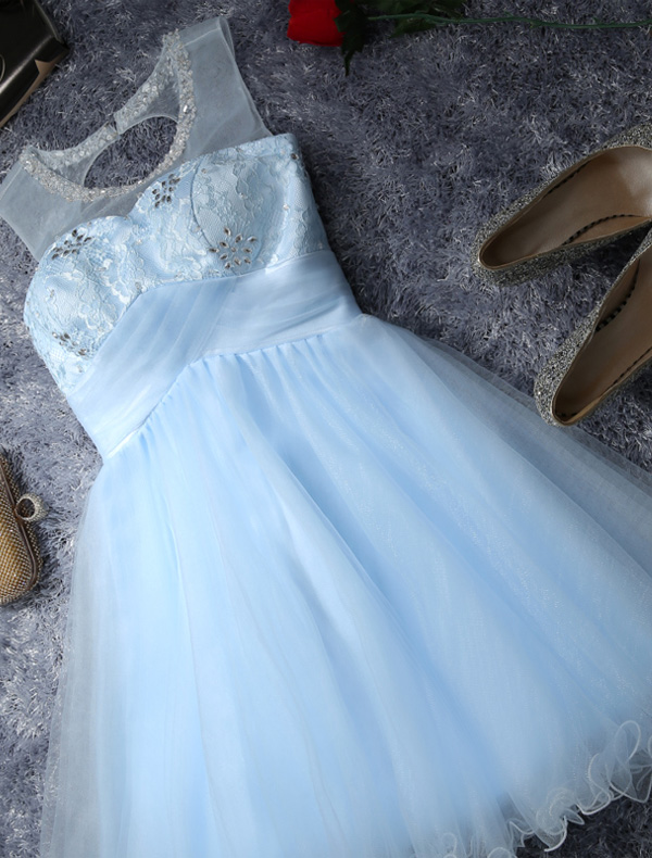 Chic Sky Blue Cocktail Dress 2016 Short Party Dress With Crystal Sequin