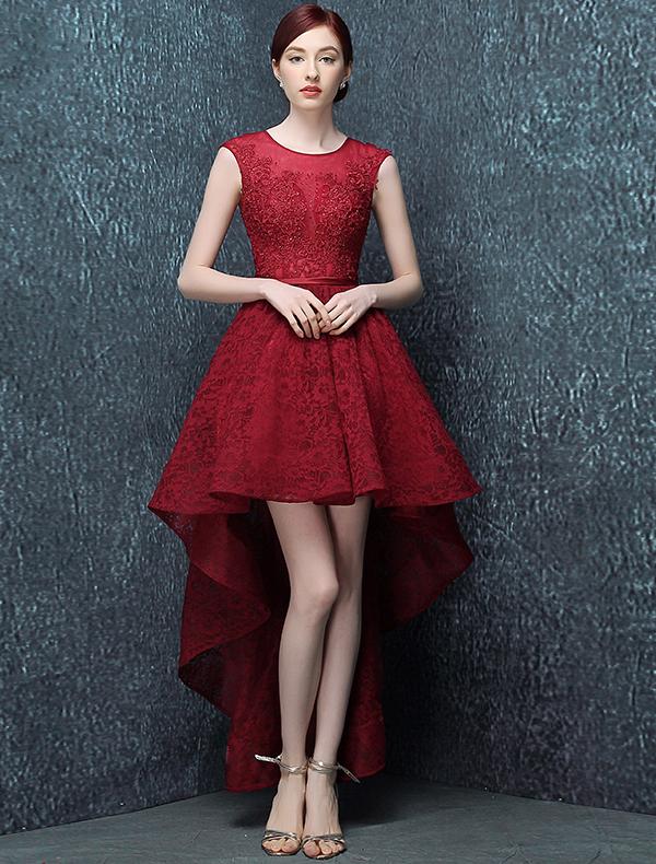 Elegant Cocktail Dress 2016 Scoop Neck Asymmetrical Burgundy Lace Cocktail Party Dress