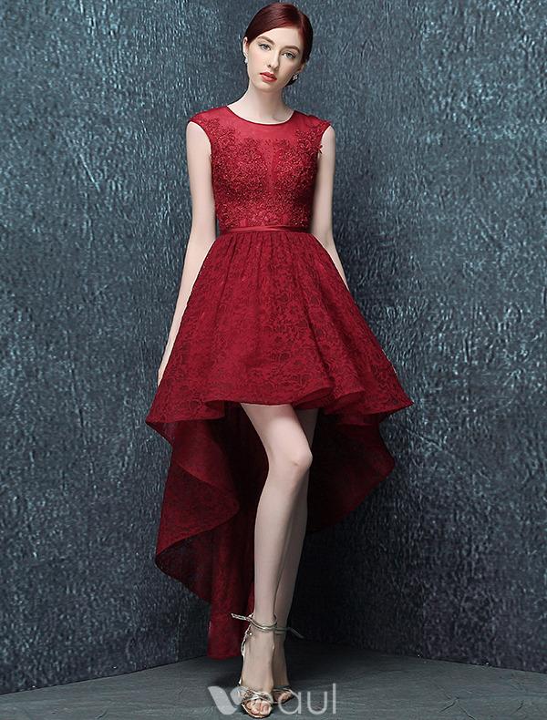 Elegant Cocktail Dress 2016 Scoop Neck Asymmetrical Burgundy Lace ...