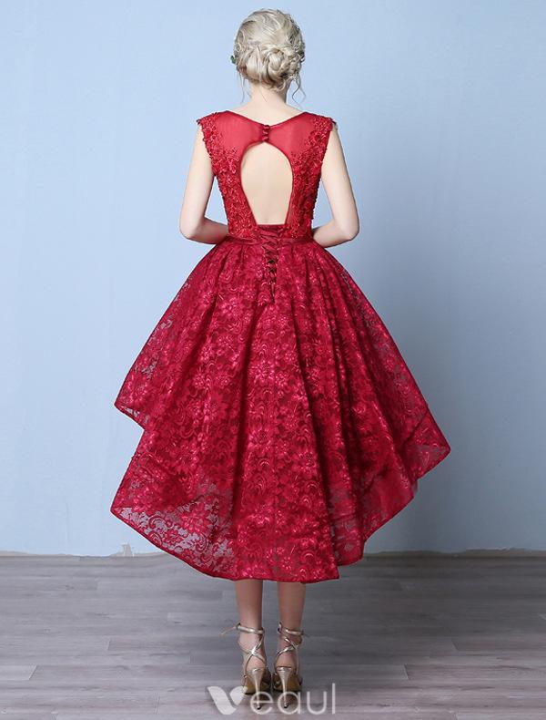 Elegant Cocktail Dresses 2016 Scoop Neck Applique Lace Asymmetrical Short Dress With Beads