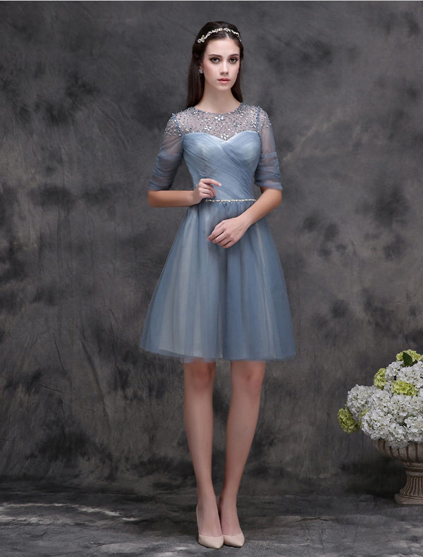 Elegant Scoop Neck Ruffle Ink Blue Cocktail Dress With Pearl