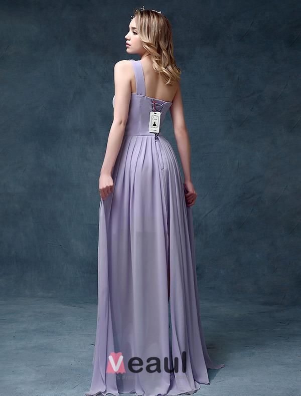 Empire One-shoulder Flower Ruffle Asymmetrical Chiffon Cocktail Dress