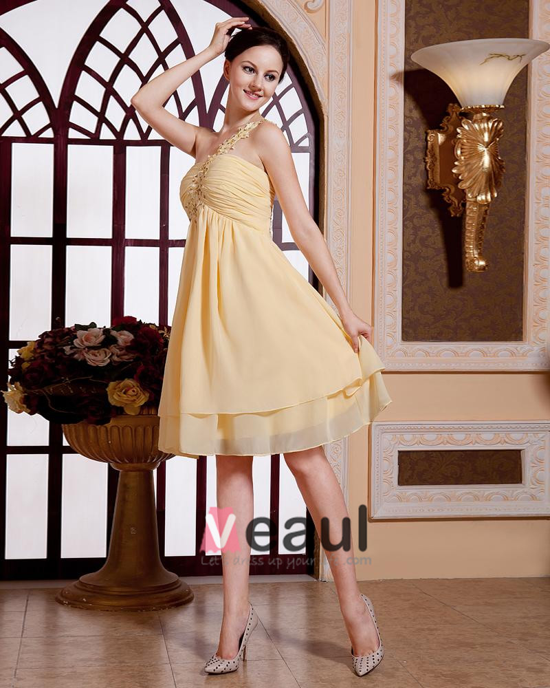 Fashion Solid Beading Ruffle Sequin One Shoulder Knee Length Chiffon Cocktail Dress