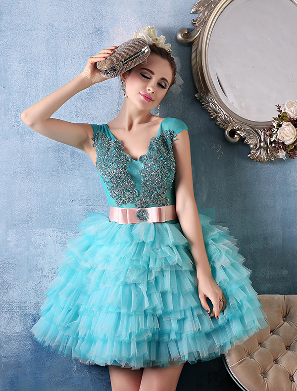 Glitter Empire V-neck Sequins Appliques Lace Sash Short Pool Blue Tulle  Cocktail Dress