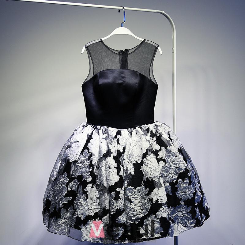 Little Black Dress 2016 Scoop Neck Printed Flowers Tulle Cocktail Dress
