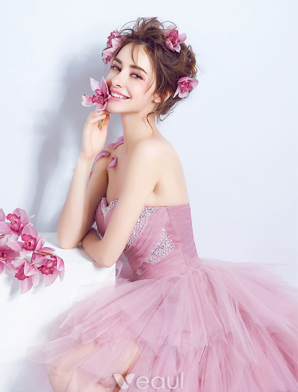 Lovely Cocktail Dresses 2017 Sweetheart Beading Sequins Cascading Ruffles Pink Tulle Asymmetrical Dress