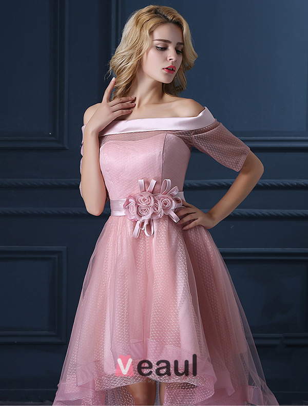 New Fashion Pearl Pink Cocktail Dress Tulle Square Neckline Prom ...