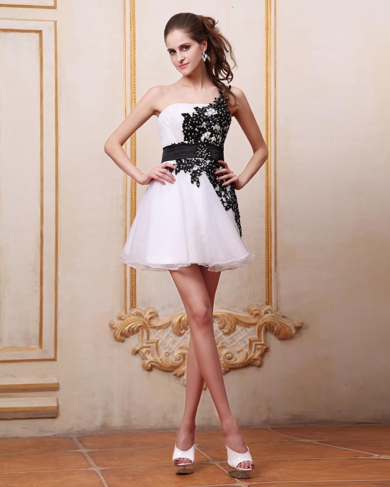 Satin Organza Applique One Shoulder Short Cocktail Dress