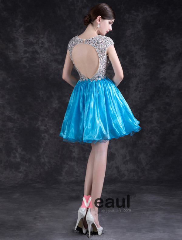 Sparkly Cocktail Dress Backless Crystal Party Dress With Sequins For 2016 New Year Eve