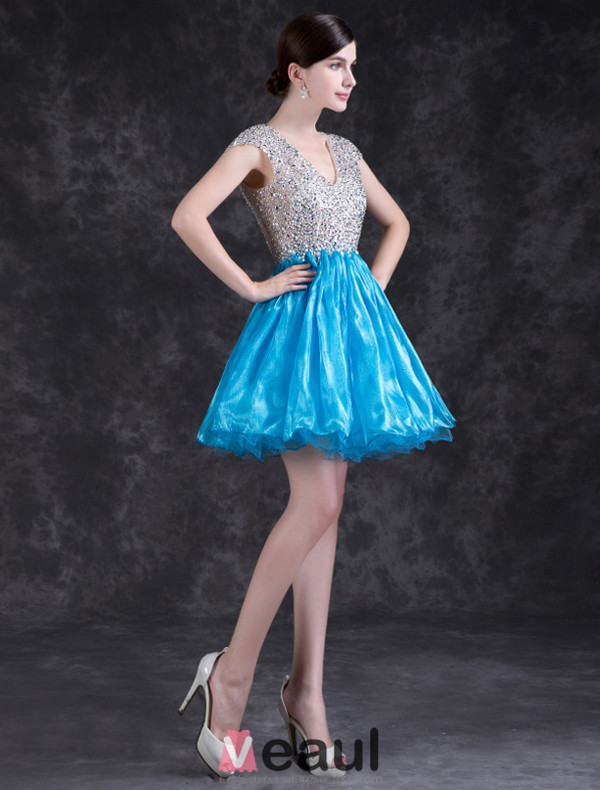 Sparkly Cocktail Dress Backless Crystal Party Dress With Sequins ...