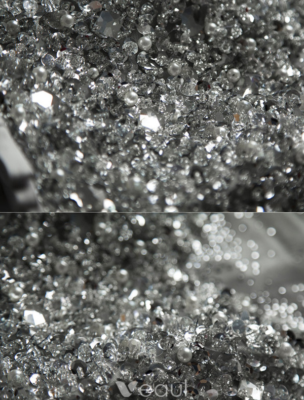 Sparkly Cocktail Dresses 2016 Scoop Neck Beading Sequins Crystals Rhinestones Asymmetrical Dress