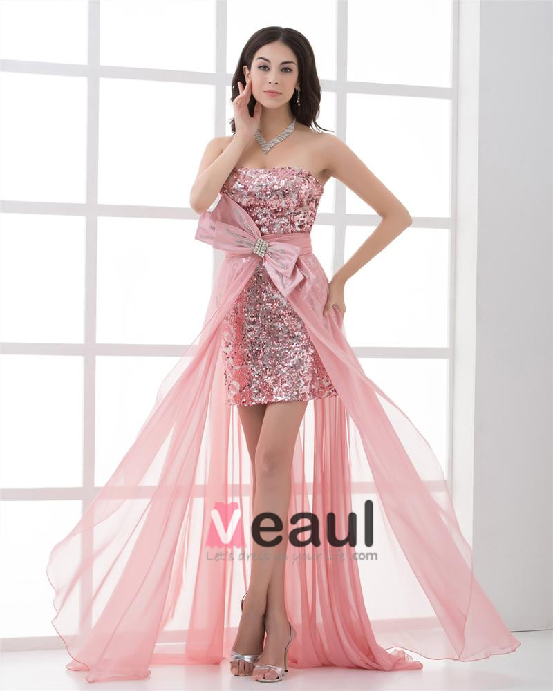 Strapless Asymmetrical Length Paillette Bowknot Chiffon High Low Prom Cocktail Dress