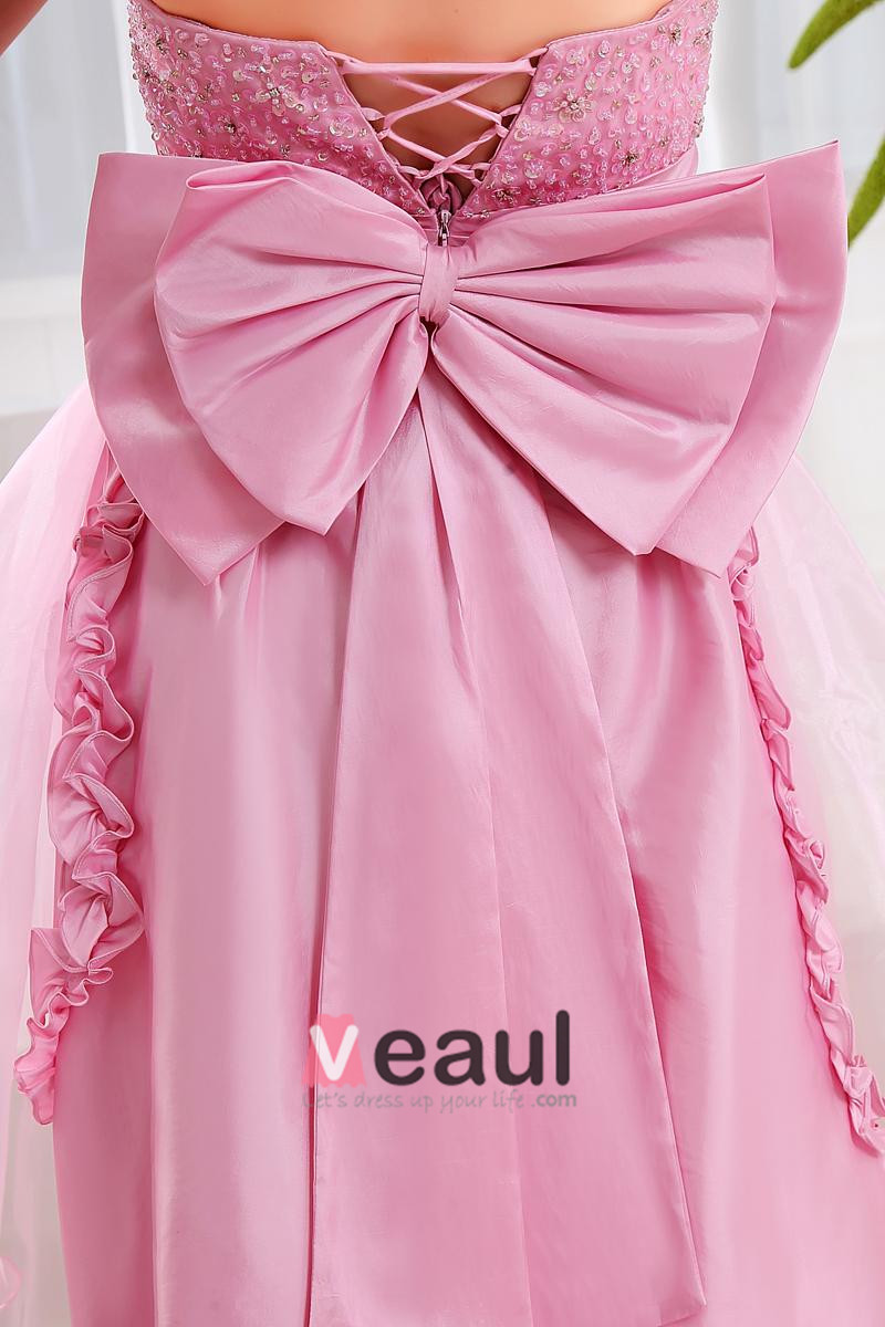 Strapless Flower Bowknot Beading Dip Lace Hem Floor Length Lace Up Sleeveless Organza Taffeta Woman Prom Cocktail Dresses
