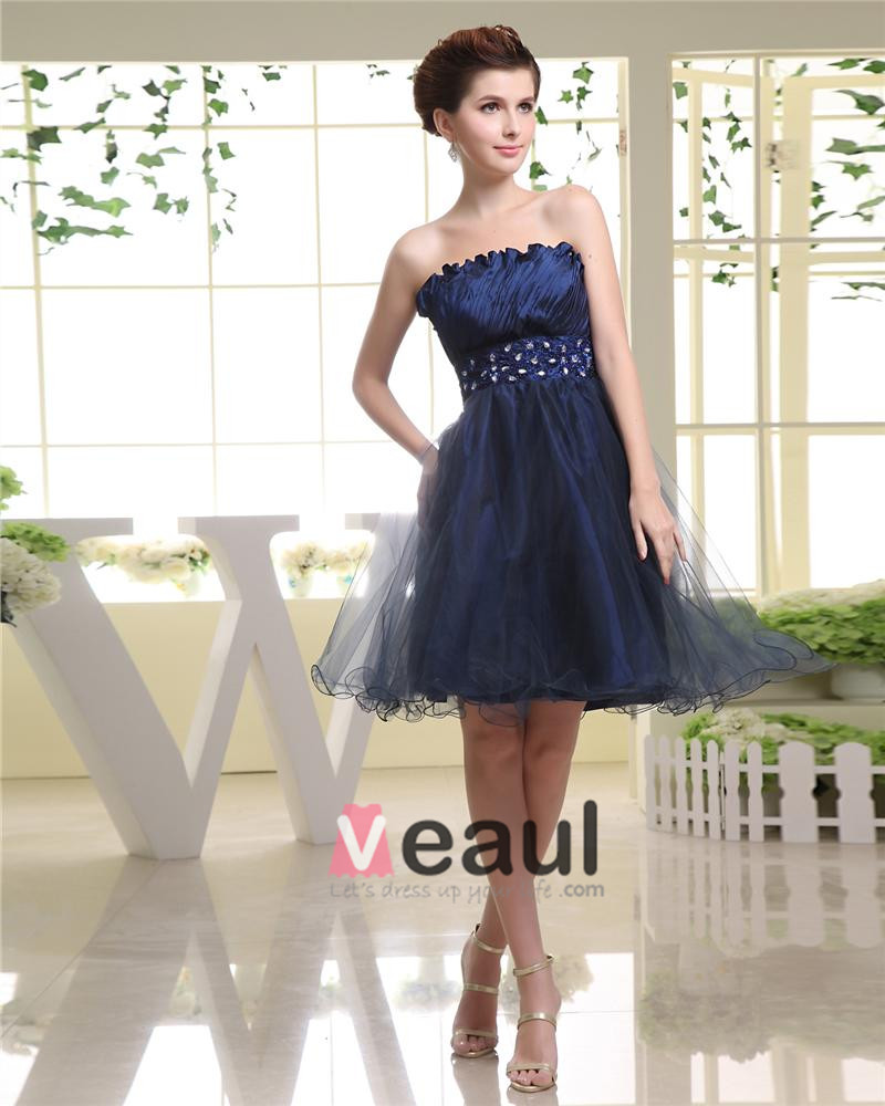 Strapless Neckline Sleeveless Thigh Length Beading Pleat Tulle Woman Cocktail Dress
