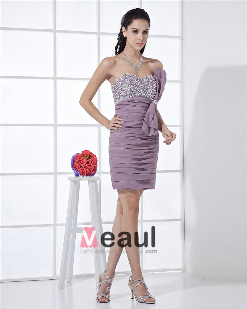 Strapless Zipper Sleeveless Beading Bowknot Mini Length Chiffon Woman Cocktail Dress