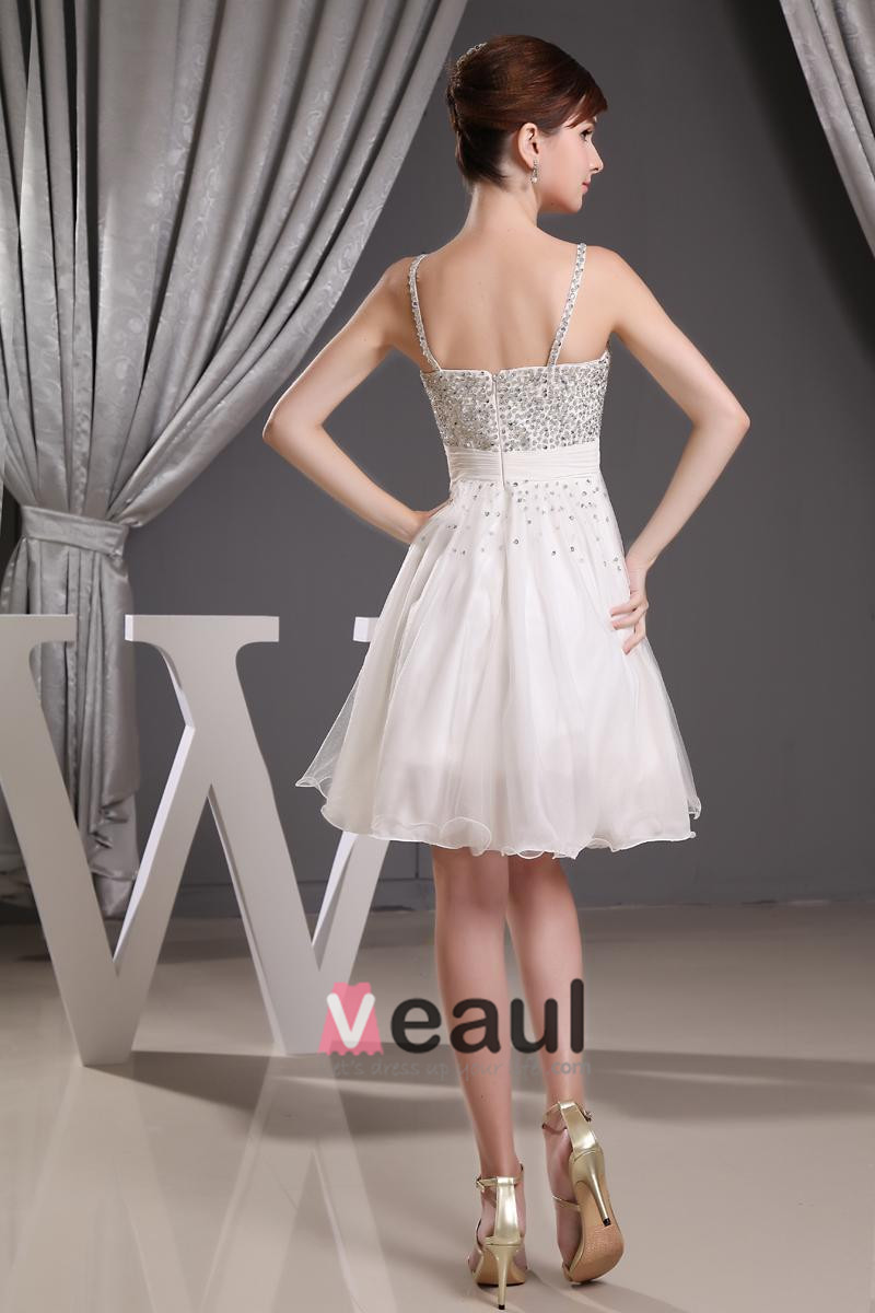 Stylish Chiffon Spaghetti Straps Beading Sleeveless Zipper Knee Length Pleated Cocktail Dress