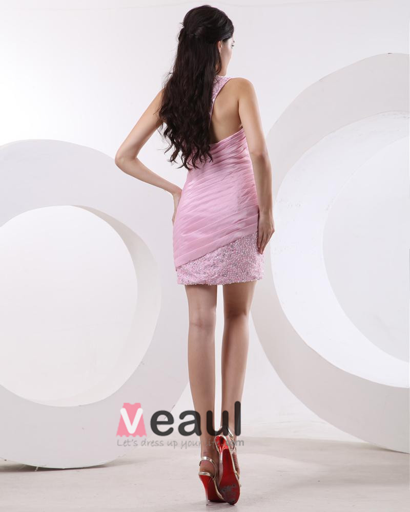 Taffeta Pleated Bead One Shoulder Thigh High Cocktail Dresses