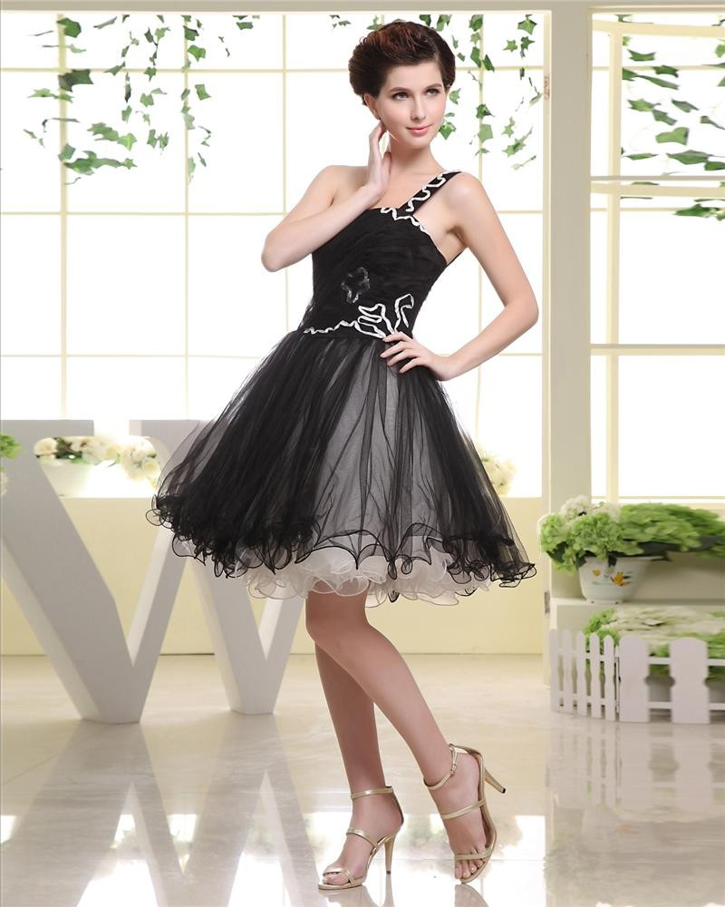 Thigh Length Strapless Sequined Pleat Chiffon A-Line Woman Little Black Cocktail Dress