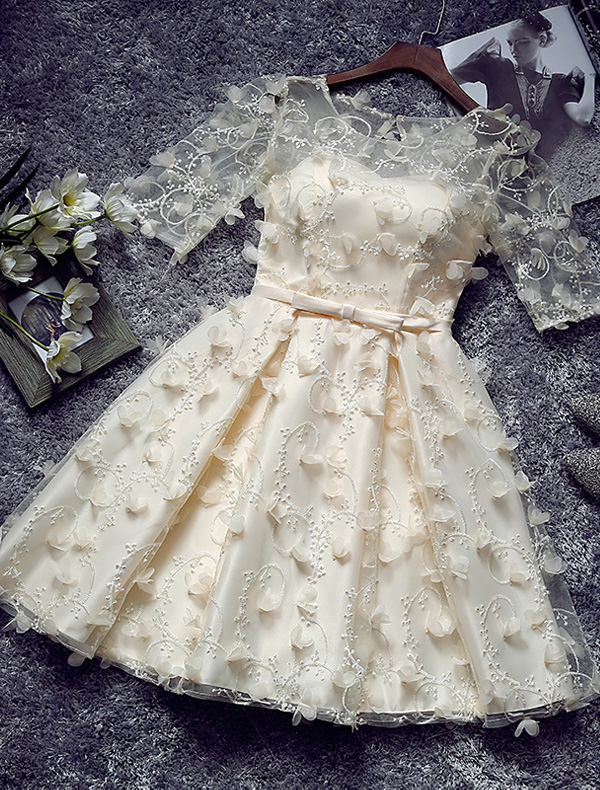 Unique Short Cocktail Dress 2016 Champagne Tulle Sleeves Party Dress With Flowers