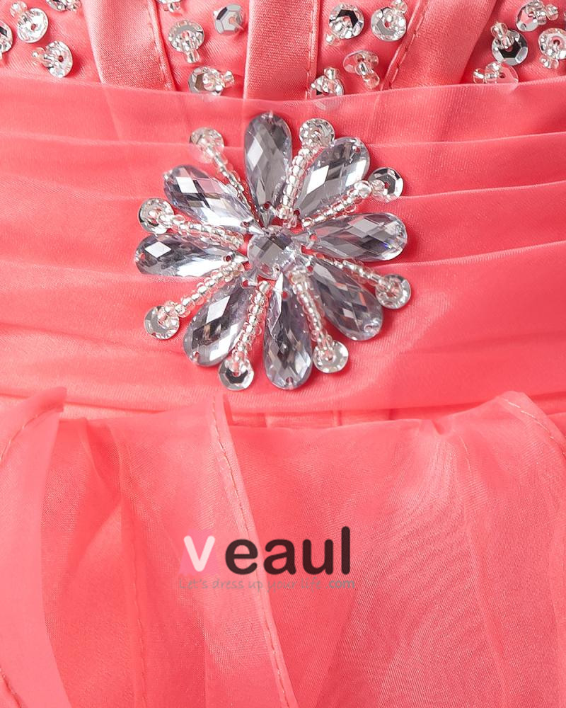 Yarn Ruffle Beading Sweetheart Ankle Length Prom Cocktail Dresses