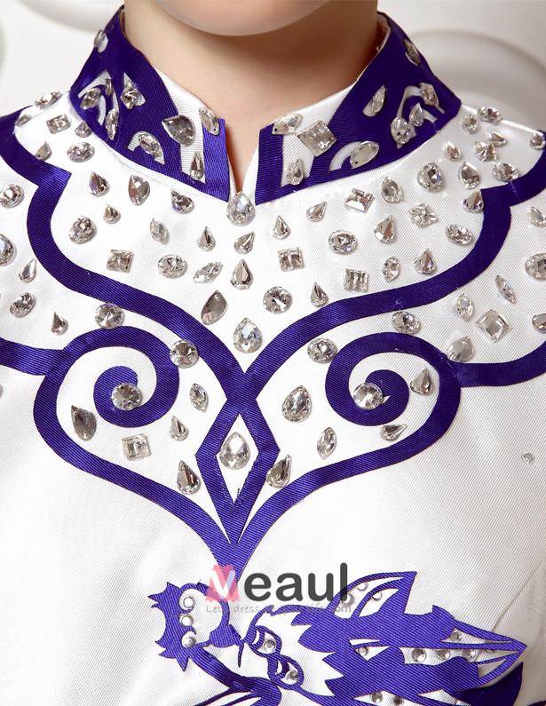 2015 A-line High Neck Improved Cheongsam Green Flower Porcelain Mermaid Evening Dress