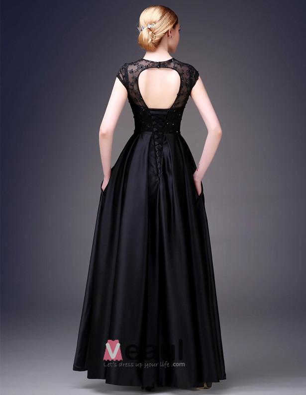2015 A-line Sleeveless Square Neckline Floor Length Beading Flower Sequins Silk Satin Evening Dress