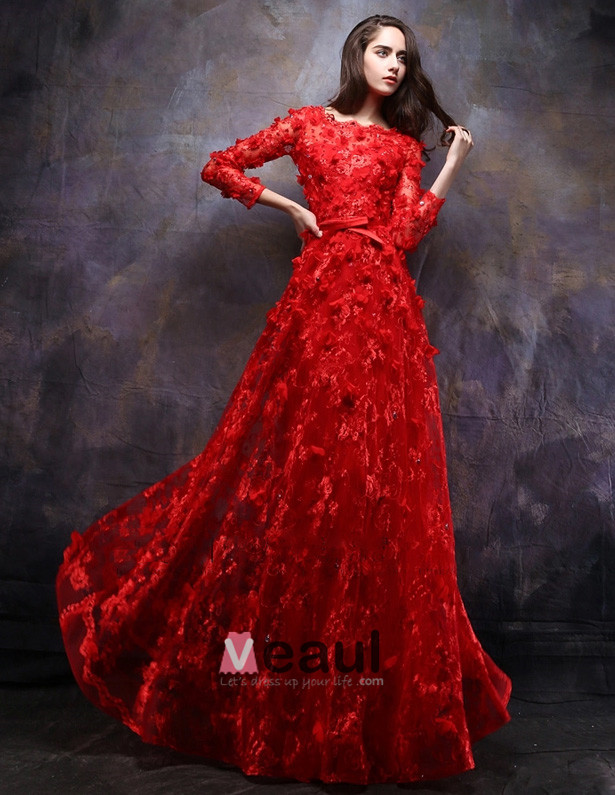 2015 A-line Square Neck Long Sleeves Floor Length Embroidered Evening Dress