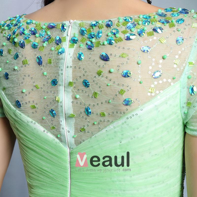 2015 Apple Green Elegant Long Party Dress Evening Dress