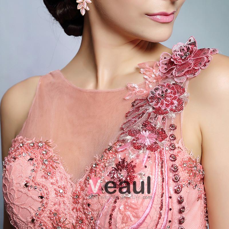 2015 Beading Applique Lace Flower Long Evening Dress