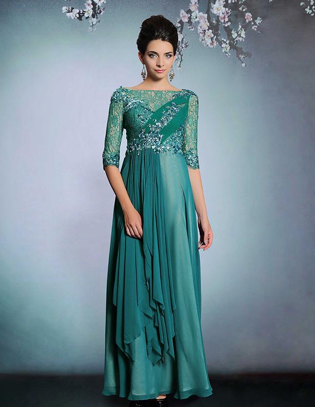 2015 Beading Applique Lace Long Evening Dress