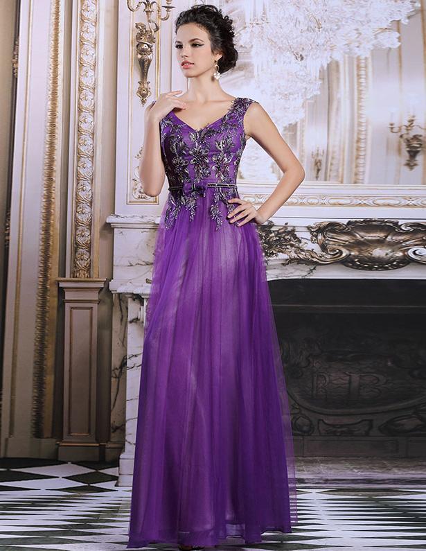 2015 Beading Inflorescence Evening Dress