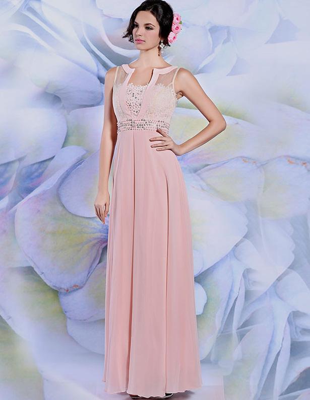 2015 Chiffon Beading Zipper Evening Dress