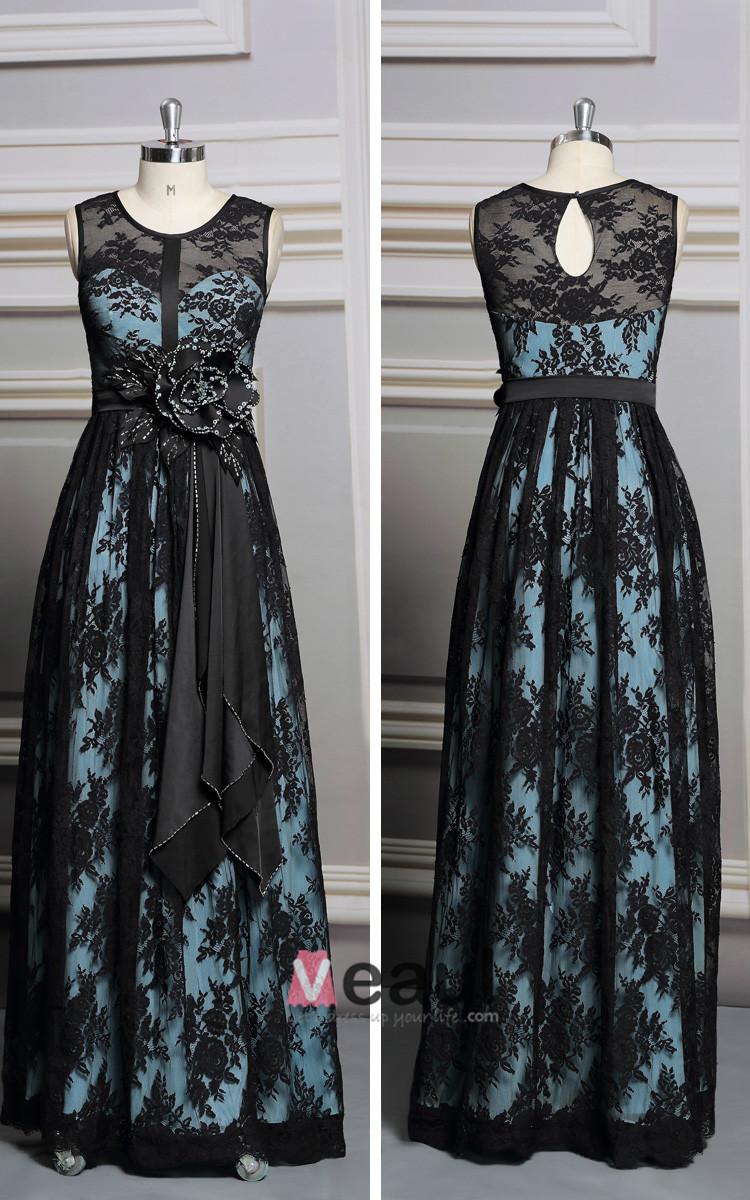 2015 Elegant Lace Applique Flower long evening dress