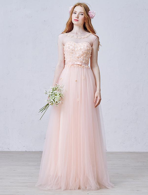 2015 Empire Square Neckline Petal Pearl Organza Evening Dress