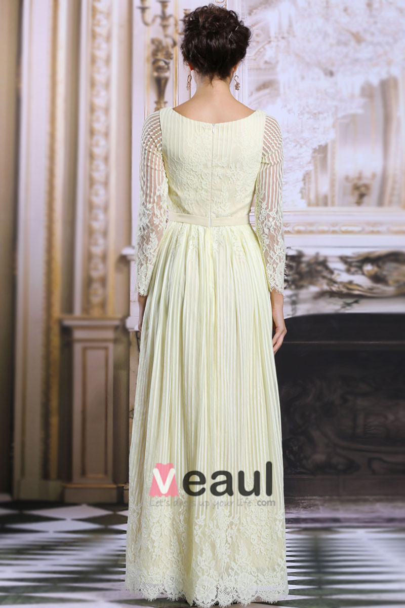 2015 Luxury A-Line Lace Beading Long Sleeves Evening Dress